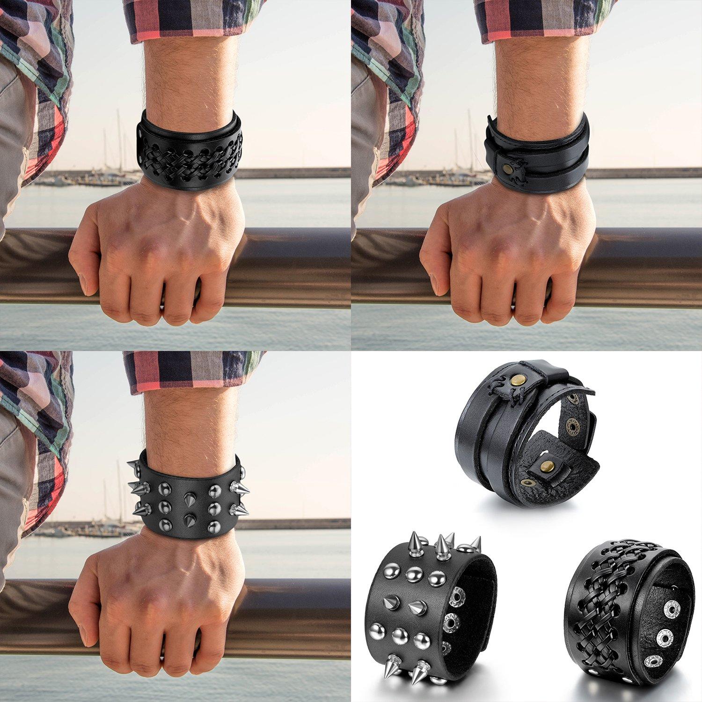 Noir Cupimatch 3 Pcs Bracelet Manchette R/églable/avec Rivet,Grande Largeur Tress/é Croix Punk Rock Bracelet en Cuir Corde Alliage pour Homme et Femme