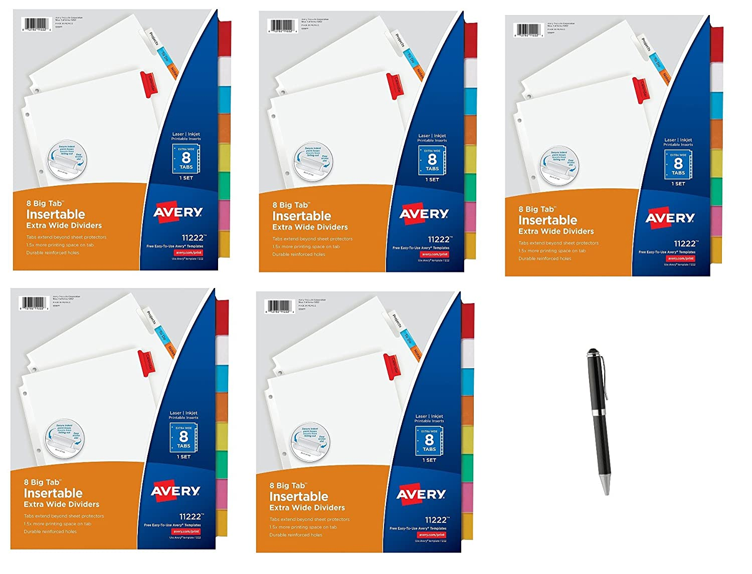 Avery Big Tab Insertable Extra Wide Dividers, 8 Multicolor Tabs, 1 Set (11222)