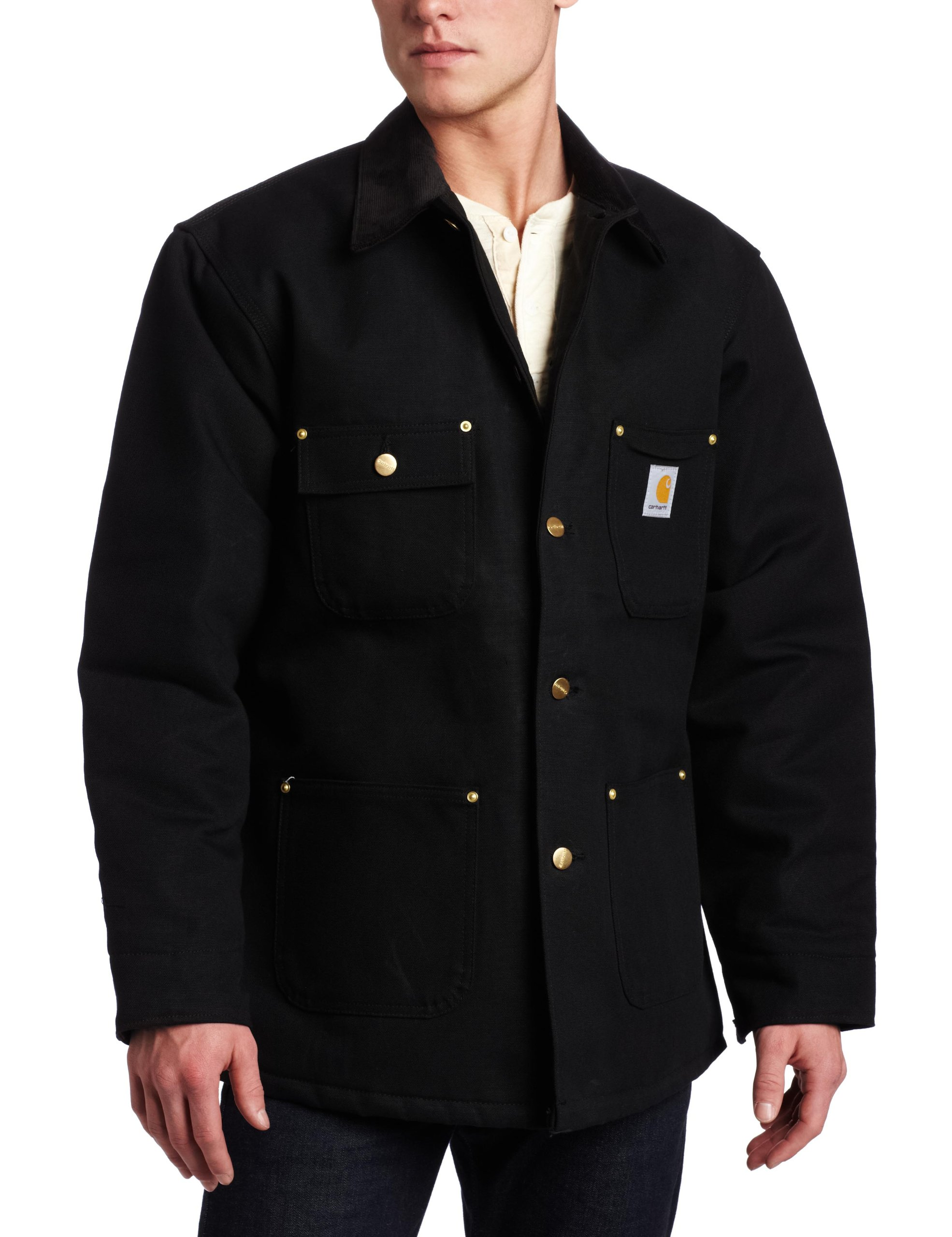 Carhartt Men's Duck Chore Coat Blanket Lined C001,Black,Large