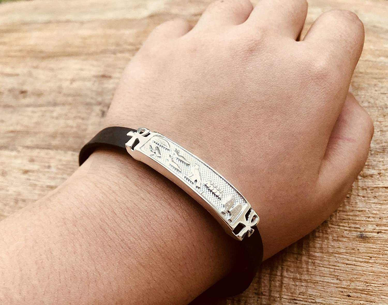 Up To 10 Letters Egyptian Personalized Solid Silver Cartouche Open Bracelet Made By AYALZ