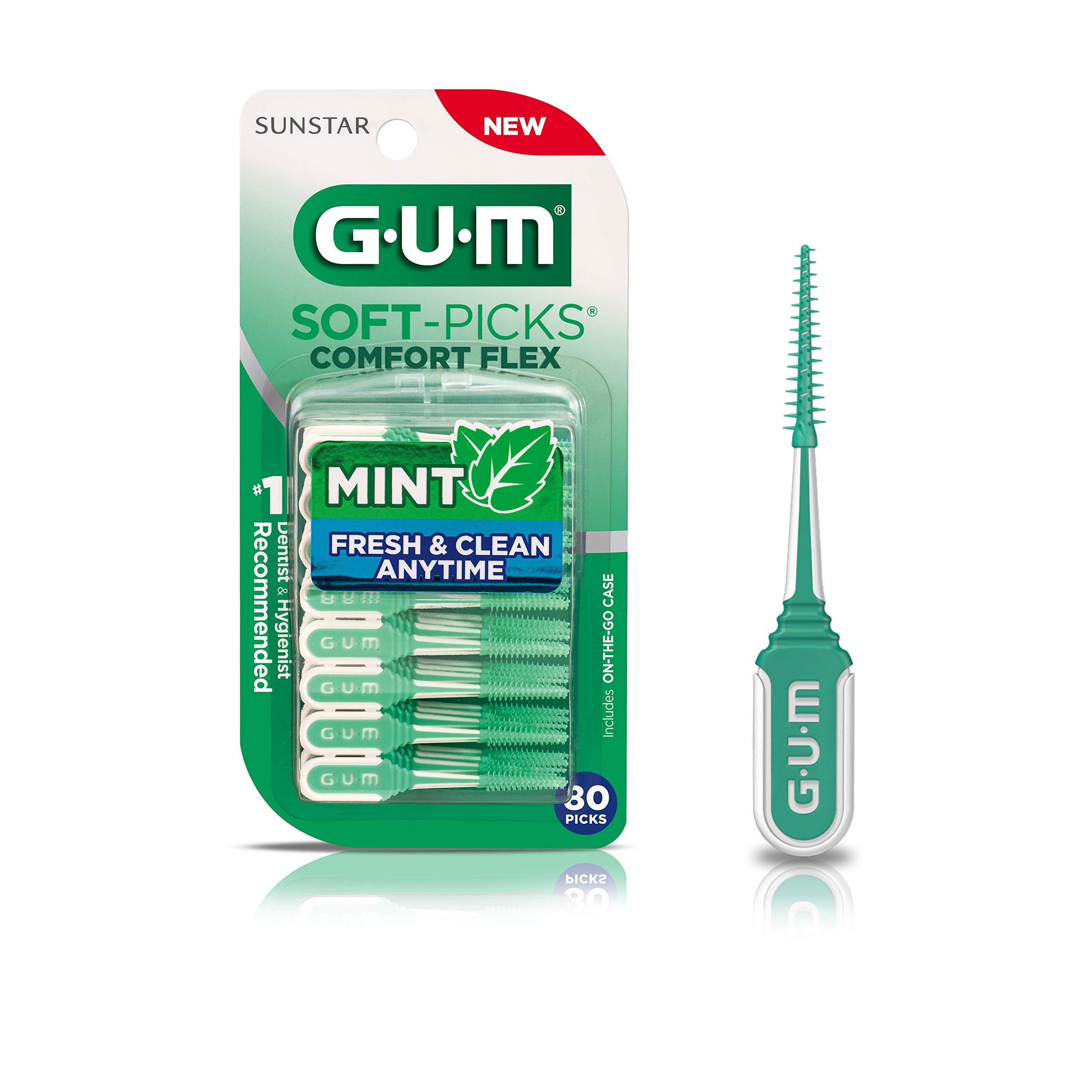 GUM-6705R Soft-Picks Comfort Flex Mint Dental Picks, New Invigorating Mint Flavor, 80 Count