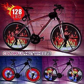 Rueda de luz LED para bicicleta, impermeable, programable, luces de rayo de luz para neumáticos de bicicleta de bricolaje con baterías de colores accesorios de bicicleta para niños adultos 66 cm: Amazon.es: