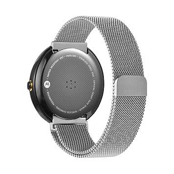 oitom Motorola Moto 360 correa de banda plata y negro Metal ...