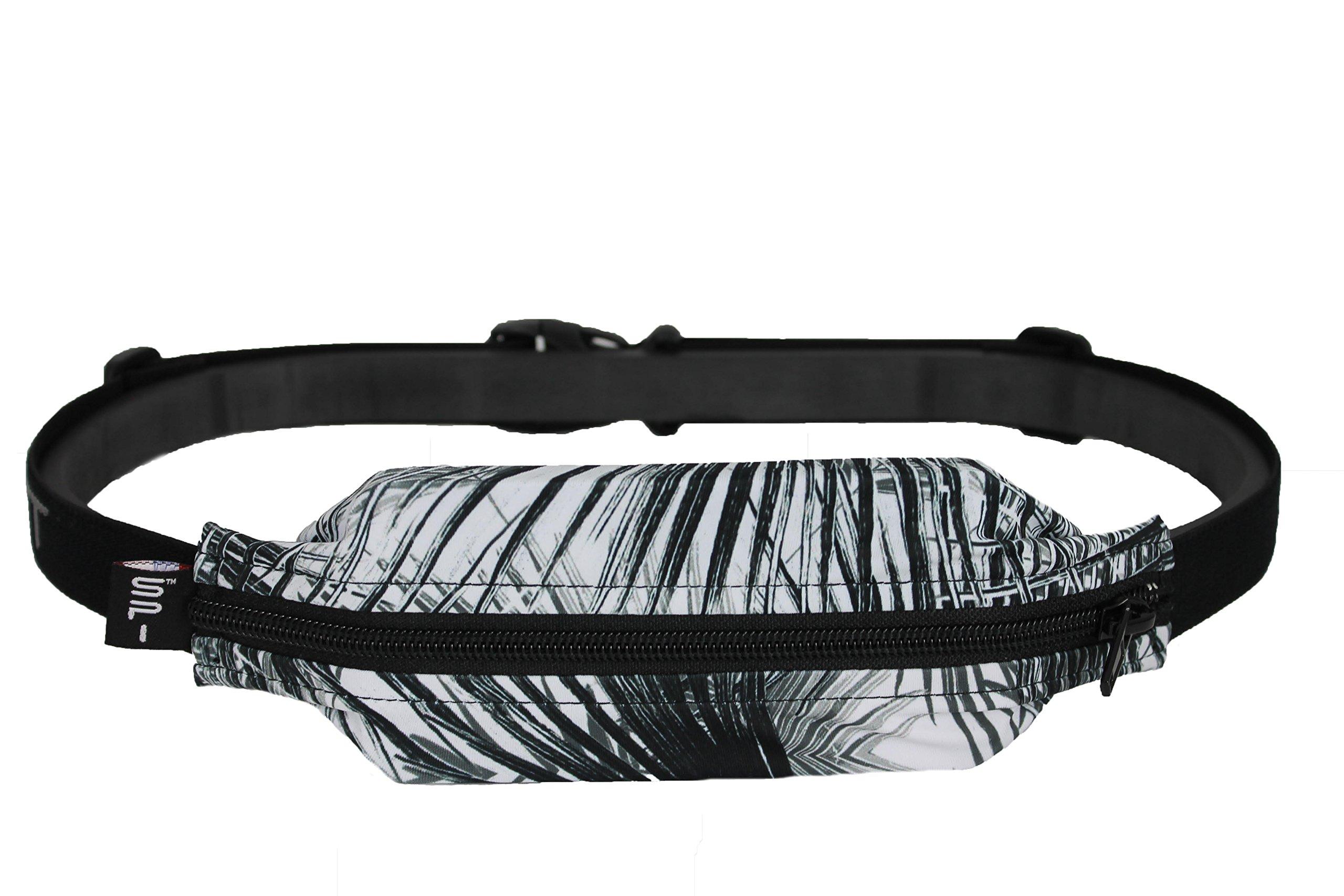 SPIbelt Running Belt: Adult Large Pocket - No-Bounce Running Belt for Runners, Athletes and Adventurers (Palm with Black Zipper, 25'' Through 47'')