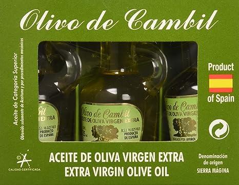 Olivo de Cambil, Aceite de Oliva Virgen Extra (AOVE) Picual - Pack 4 Estuches de 3 Miniaturas x 25 ml (Total 300 ml) con D.O Sierra Mágina: Amazon.es: Alimentación y bebidas