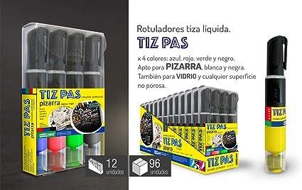 Estuche 4 Rotuladores para Escribir y Pintar en el Cristal Borrable - Tiza Liquida Colores AMARILLO, ROJO, AZUL y VERDE - Uso para Pizarras y Vidrios - Marca TIZ PAS: Amazon.es: Oficina y papelería