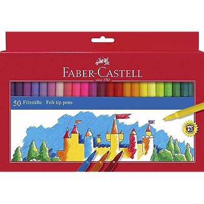Faber-Castell 554250 - Estuche 50 rotuladores con punta de fibra, multicolor: Juguetes y juegos