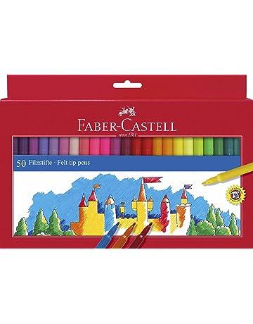 Faber-Castell 554250 - Estuche de cartón con 50 rotuladores escolares, punta de fibra