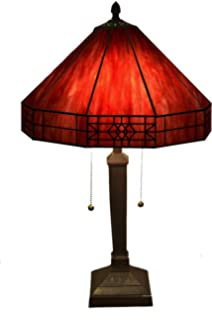 Whse Of Tiffany T14M113 RED Maeve Tiffany Style 2 Light Red Table Lamp