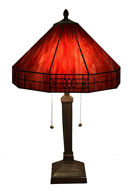 Whse Of Tiffany T14m113 Maeve Tiffany Style 2 Light Red Table Lamp
