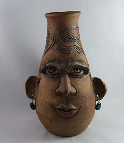 Amazon Aunt Chris Pottery Zelda Face Vase With A Hand