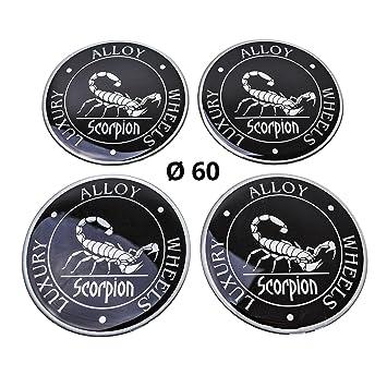 Adhesivos de silicona para tapacubos, 60 mm de diámetro, diseño de escorpión: Amazon.es: Coche y moto