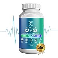Suplemento Ketality K2 + D3 para huesos saludables, absorción adecuada de calcio y corazón saludable, K2 y vitamina D de origen natural para maximizar los beneficios de vitamina D y distribución de calcio, 60 cápsulas