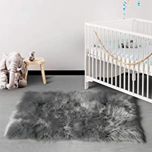 HAOCOO Faux Fur Sheepskin Rug Fuzzy Fluffy Rectangle White Area Rugs 2' x 4' Kids Carpet for Bedroom Living Room Floor Or Across Your Armchair Sofa Couch
