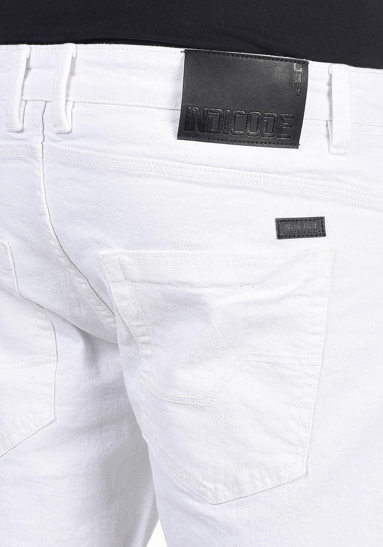 Indicode Quentin Herren Jeans Shorts Kurze Denim Hose im Destroyed-Optik aus Stretch-Material Regular Fit