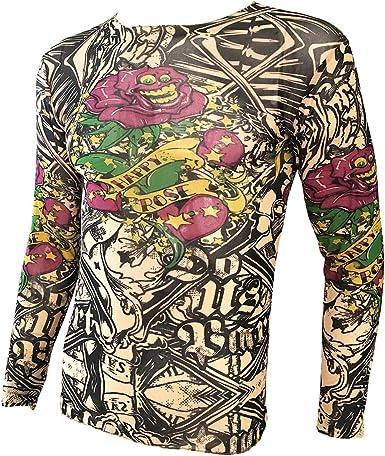 OMAS Cráneo Rosa Tattoo Camiseta Deportiva Tattoo Top Biker Biking Fitness: Amazon.es: Ropa y accesorios
