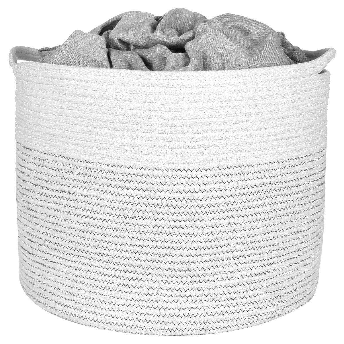 daaeecacbeab Amazon.com: Extra Large Storage Basket, Cotton Rope Storage Baskets, Woven  Laundry Hamper, Baby Toy Storage Bin, for Toys Towel Blanket Basket in  Living ...
