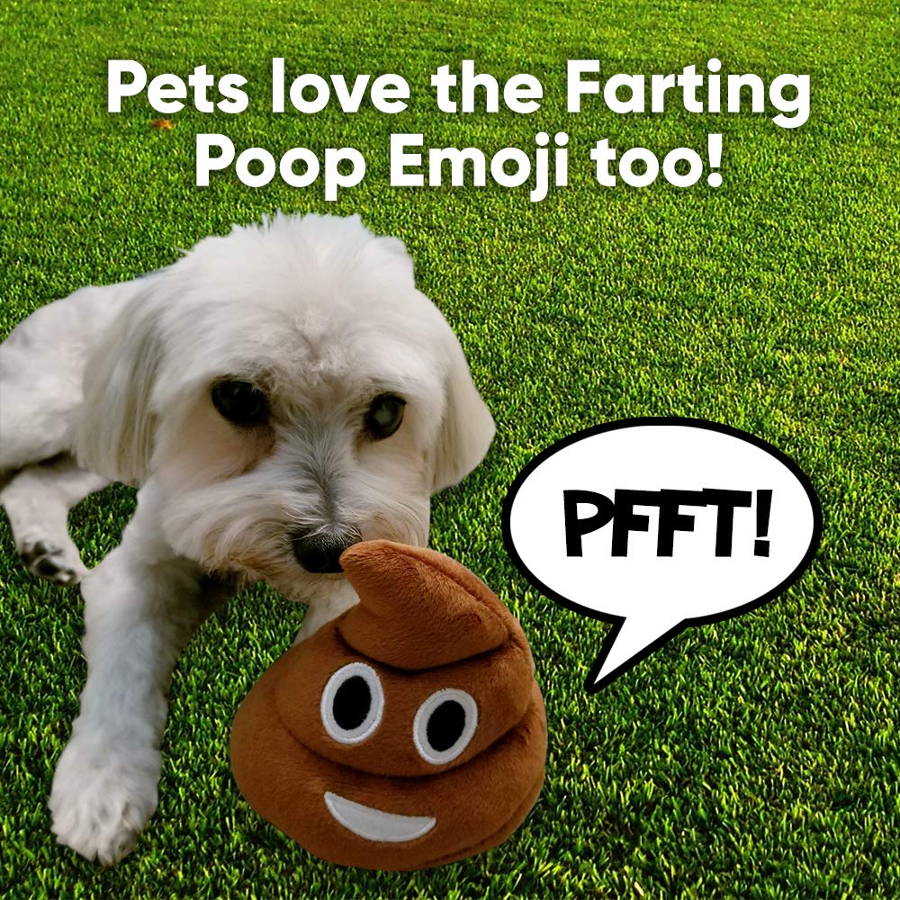 Poop Emoji Farting Plush Toy - Makes 7 Funny Fart Sounds – Gently Drop, Plop or Toss to Activate & Hear Him Fart - New & Improved - Louder Farts - Fun for Poop Games - Measures a Super Cute 4 x 4.5'' by OUR FRIENDLY FOREST (Image #4)