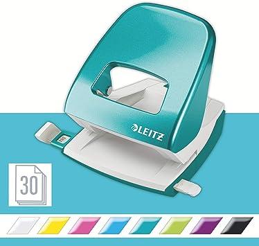 Leitz Locher 30 Blatt, Anschlagschiene mit Formatvorgaben, Metall, WOW Blue | Komplett Set