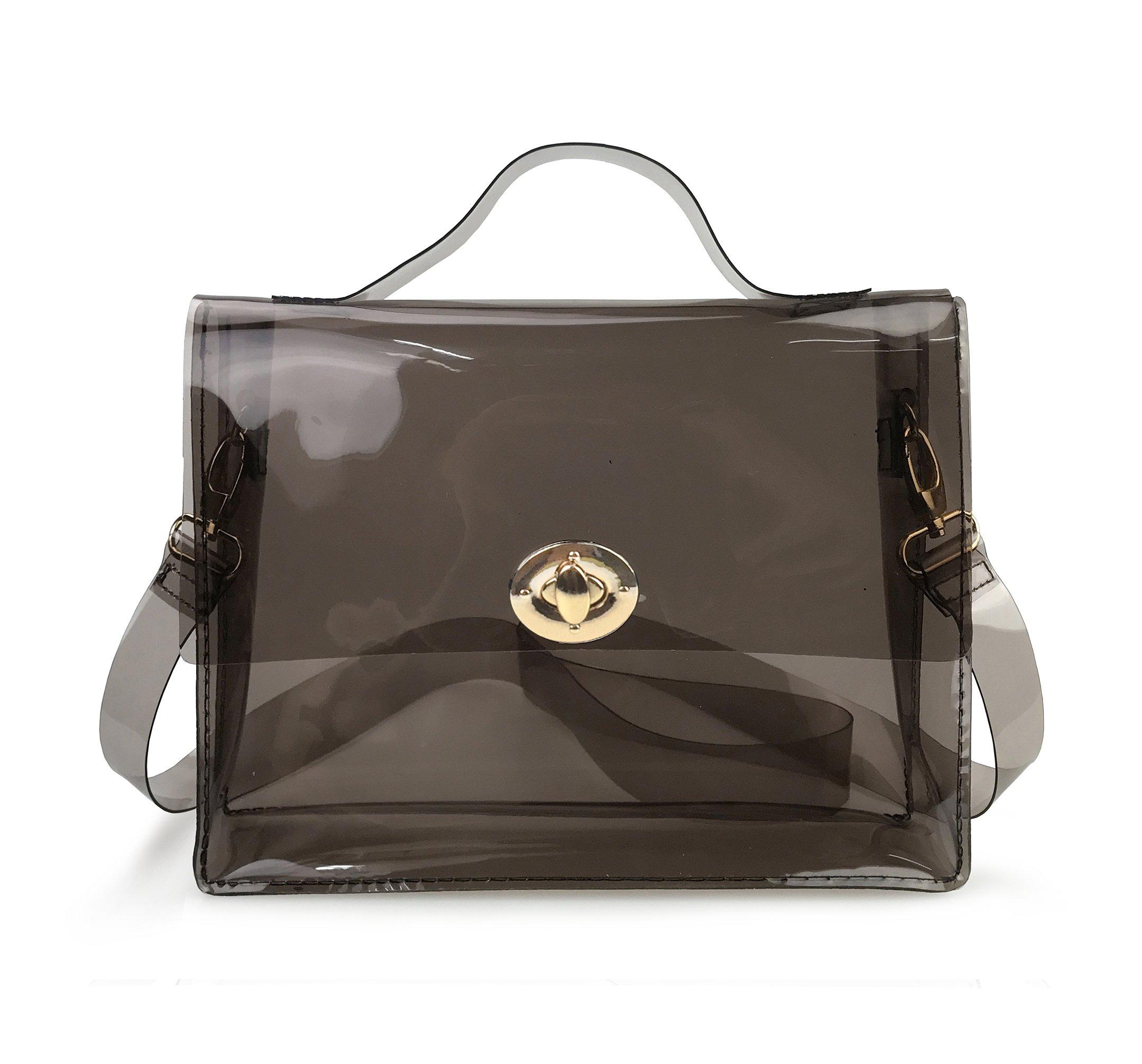 Hoxis Summer Beach Clear PVC Turn Lock Satchel Cross Body Bag DIY Decor Transparent Messenger Handbag (Smoke Gray)