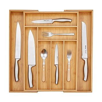 DEIK cocina cajón organizador bandeja de cajón para cubiertos, cajones, ajustable y organizador de
