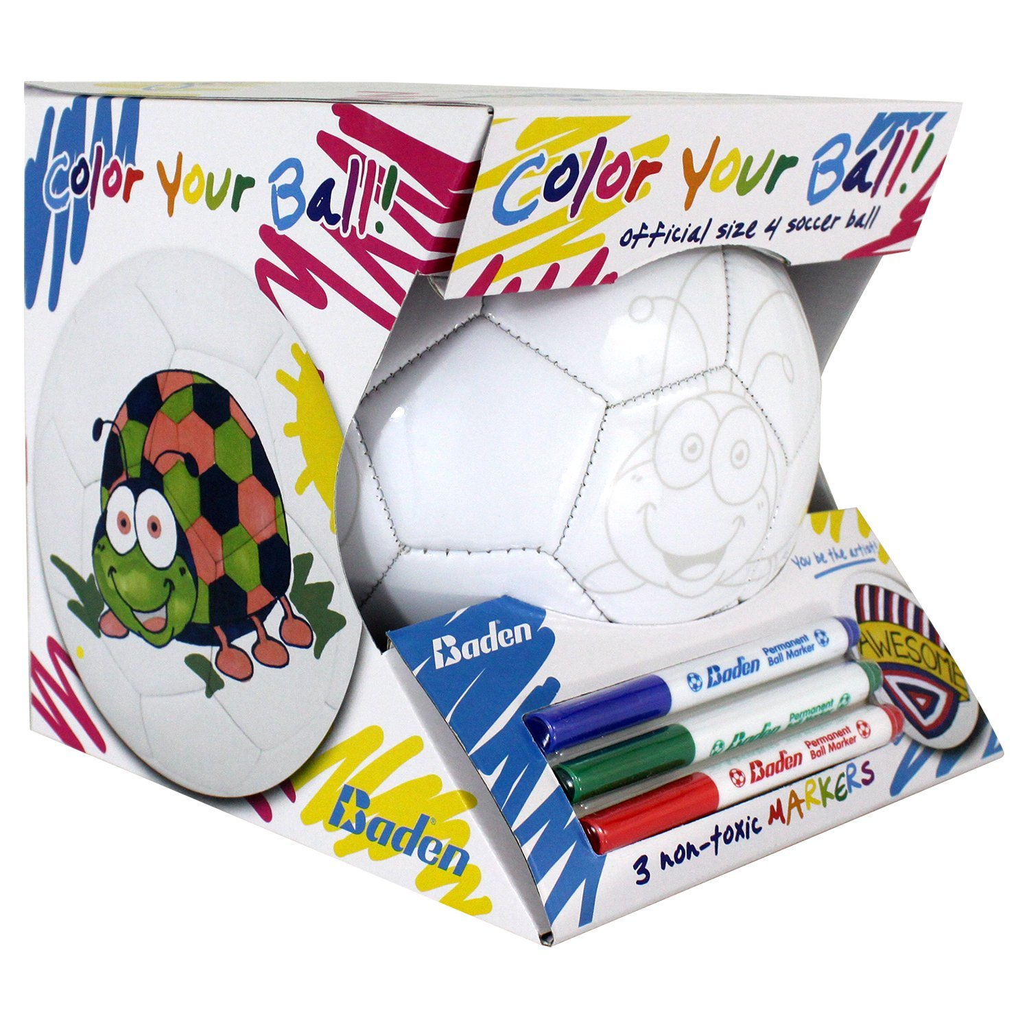 Baden Color Your Own Soccer Ball, Kids Soccer Ball w/ Colored Markers
