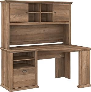 Bush Furniture Yorktown Corner Desk with Hutch, 60W, Reclaimed Pine