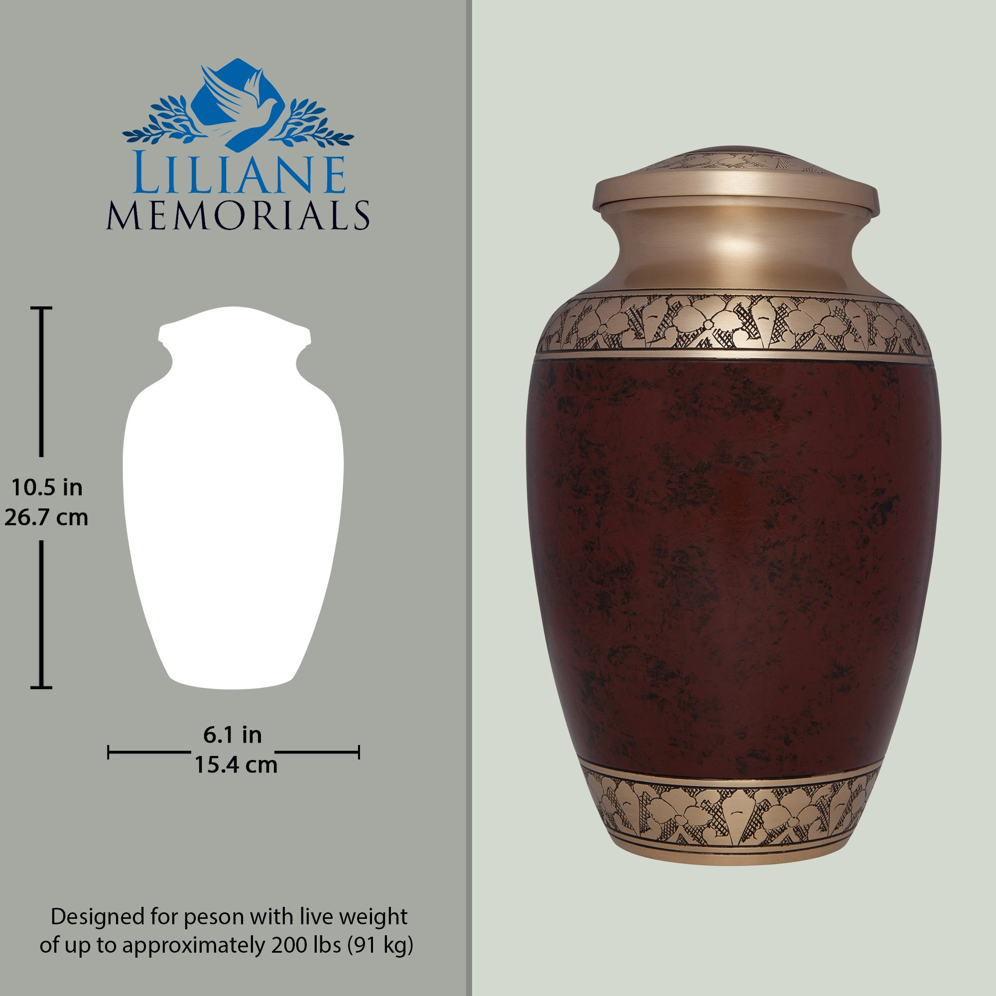 Brown Funeral Urn by Liliane Memorials - Cremation Urn for Human Ashes - Hand Made in Brass -Suitable for Cemetery Burial or Niche - Large Size fits remains of Adults up to 200 lbs- Tranquility Brown by Liliane Memorials (Image #4)