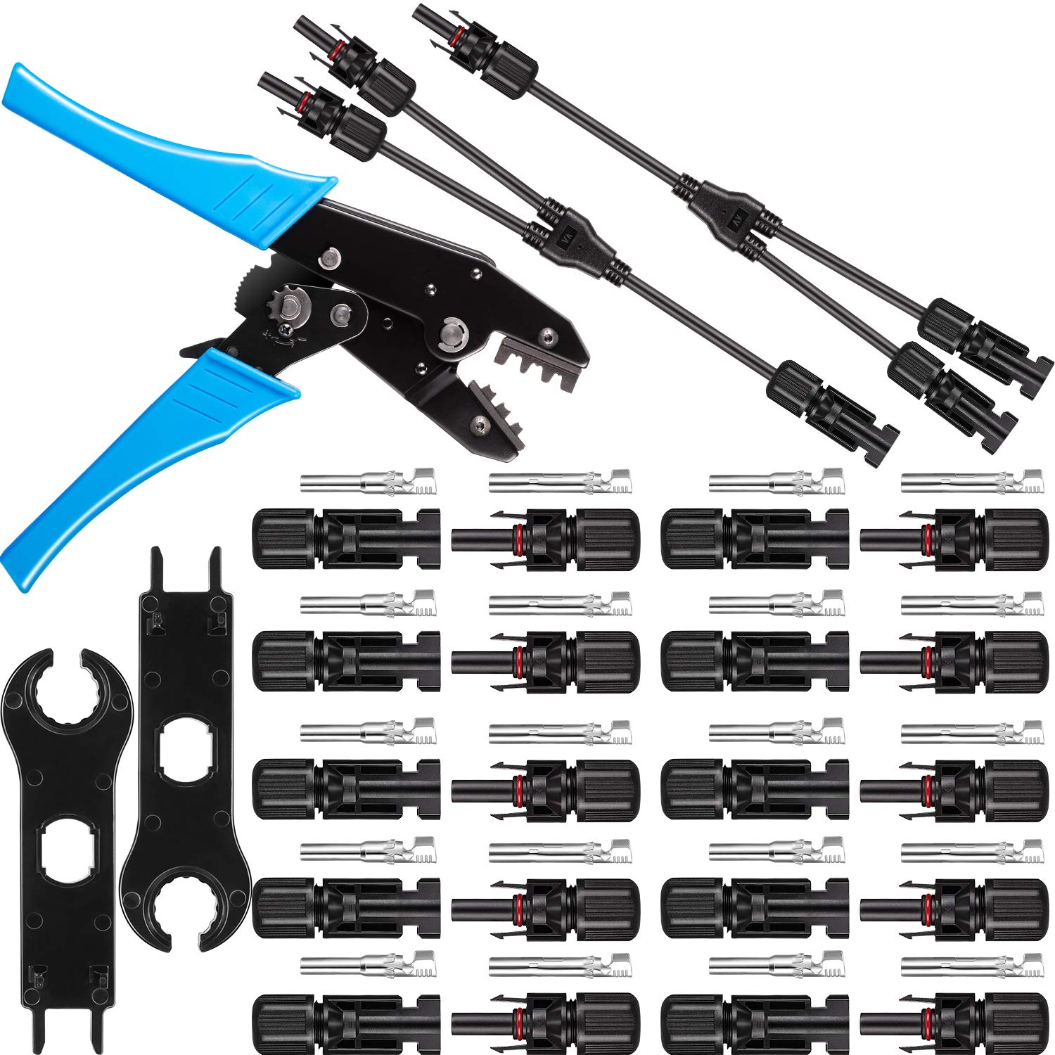 Solar Panel Tools Kit Assembly Including 10 Pairs Female and Male Connectors for MC4, 2 Pieces Spanner for MC4, Y Branch Connector and Solar Crimping Tool for MC4(Style B) by Pelopy