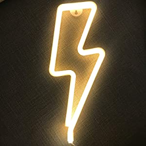 Fancci Lightning Bolt Neon Signs, Decorative Neon Lights for Bedroom, USB/Battery Powered LED Lightning Sign Neon Signs for Wall Decor, Kids Room, Birthday, Christmas, New Year Decor (Warm White)