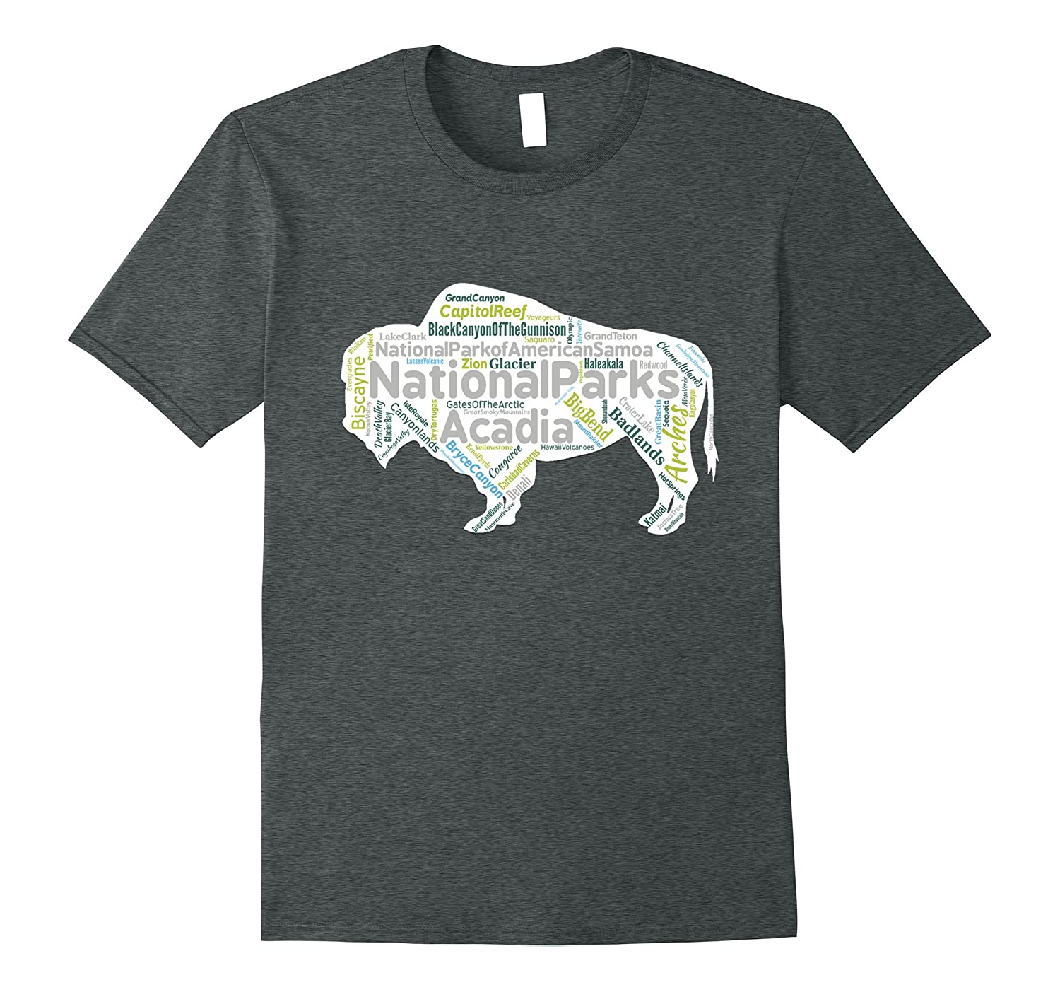 All 59 National Parks Bison Word Cloud T-Shirt