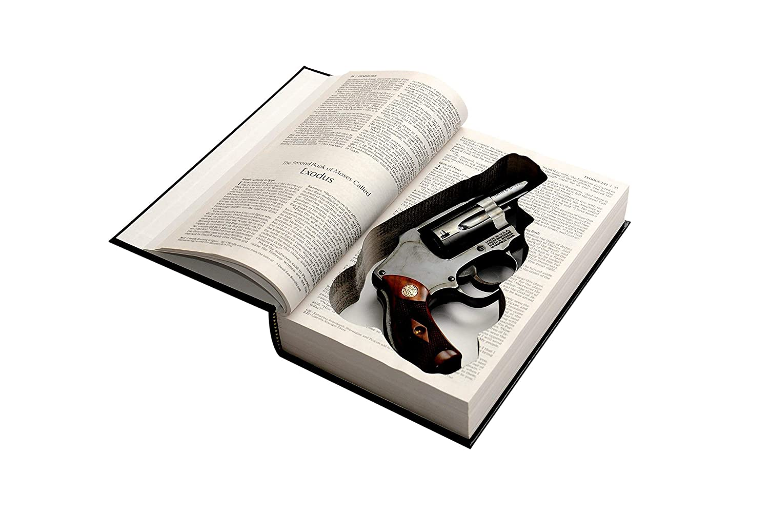 Bible Book Safe for Snubnosed Revolvers - Concealed Gun Storage - Fits Ruger LCR, Smith and Wesson, Taurus Model 85