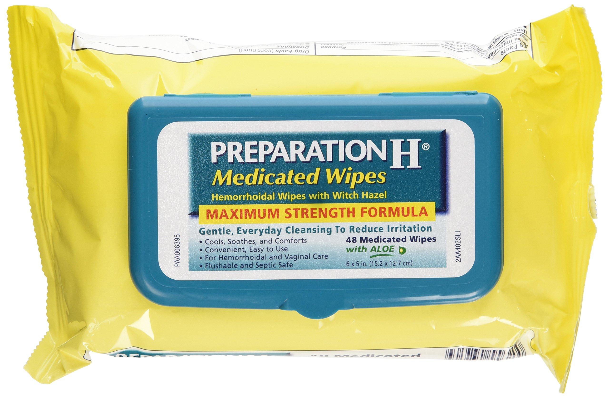 Preparation H Medicated Wipes 48 Ea (Pack Of 3)