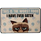 """Grumpy Cat Officially Licensed Pet Food Mat or Decorative Place Mat """"The Worst Food I Have Ever Eaten"""" by Ganz"""