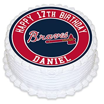 Atlanta Braves Baseball Edible Image Cake Topper Personalized Birthday 8quot Round Decoration Custom Sheet Party