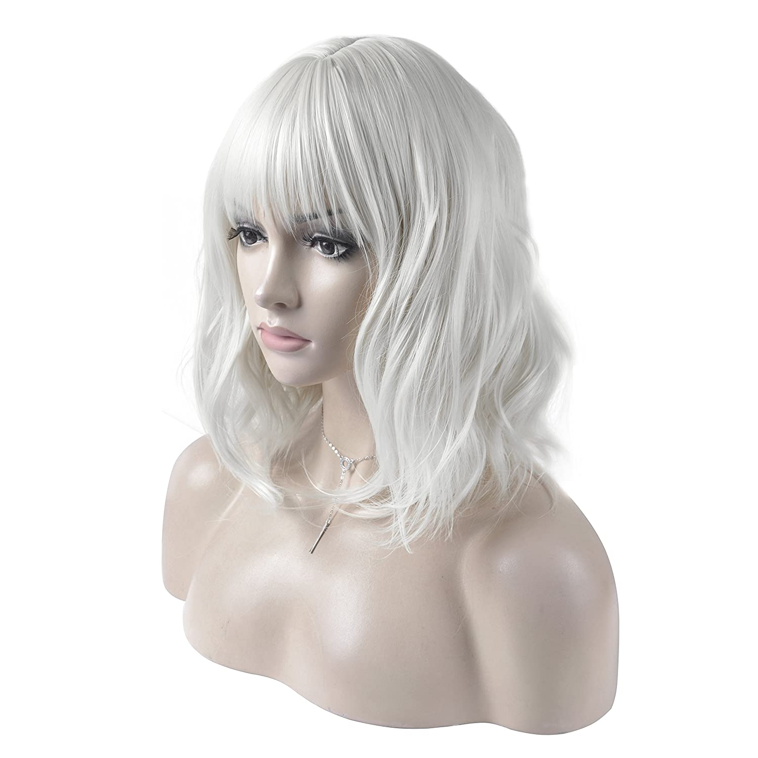 DAOTS 14 Inches Curly Wigs with Bangs for Women Girls Heat Resistant Synthetic Hair Wig (Silver White)