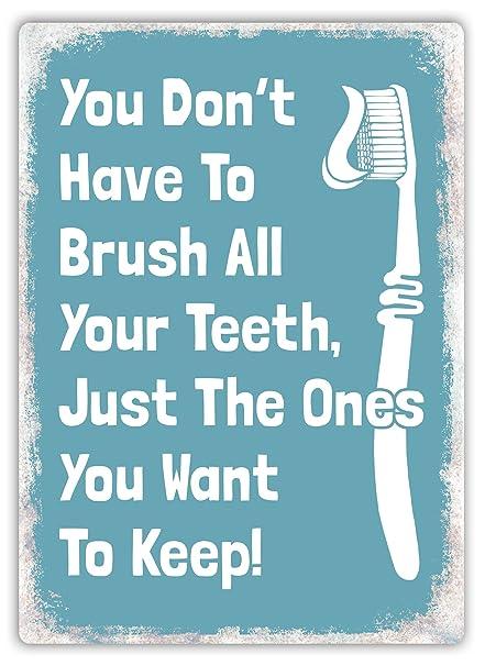 No Tienes a cepillarse los dientes (azul) – Placa metálica para la pared con 406988c74686