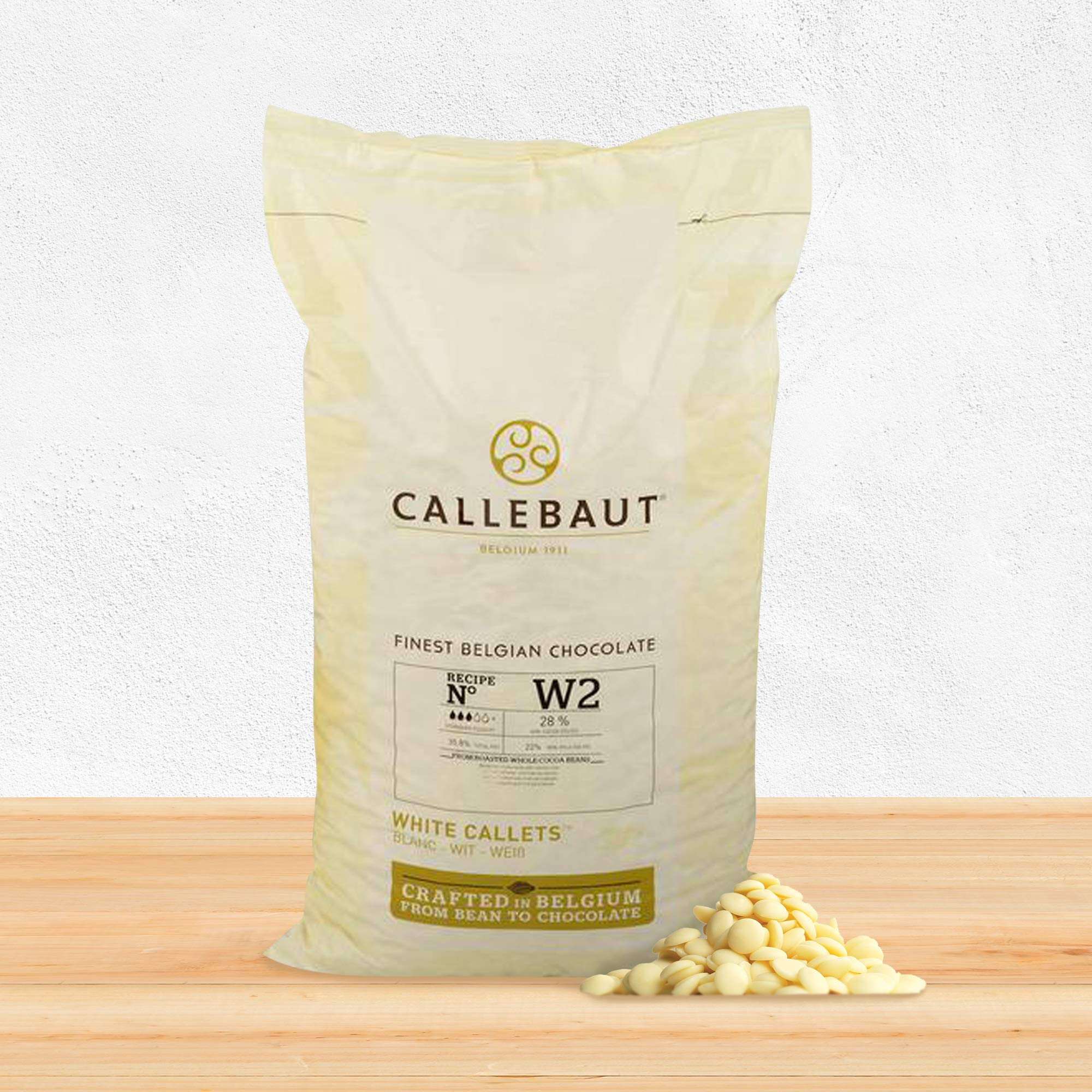 Callebaut Belgian White Baking Chocolate Callets - 29.5% Cocoa Butter, 0% Fat Free Cocoa, 6.3% Milk Fat, 16.7% Fat Free Milk - Good For Cakes, Mousse, Truffle, Fillings & Dipping - 22 Lbs by Callebaut (Image #4)