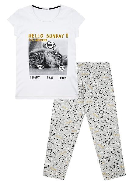 oodji Ultra Mujer Pijama de Algodón con Pantalones Piratas Estampados, Blanco, ES 38 / S: Amazon.es: Ropa y accesorios