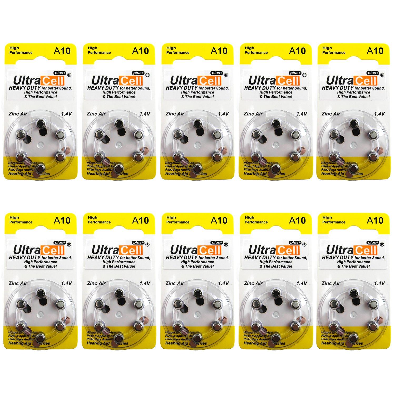 Hearing Aid Zinc Air Batteries A10 Size: 10 (60 Batteries)