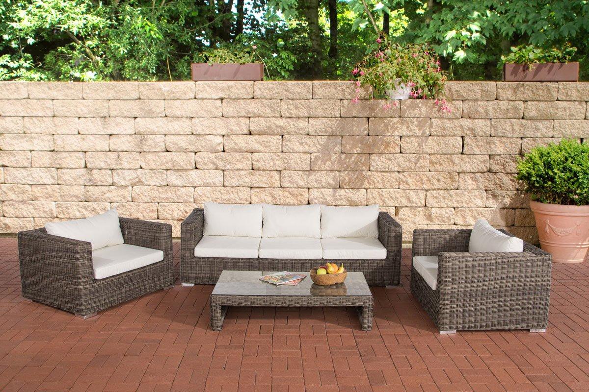 CLP 14 teiliges Set: Polyrattan Luxus Gartengarnitur CASABLANCA 5mm, mit Aluminiumgestell (3er Sofa + 2 Sessel + Tisch 120 x 64cm + Kissen) Rattan: Grau-meliert, Bezugfarbe: Cremeweiß