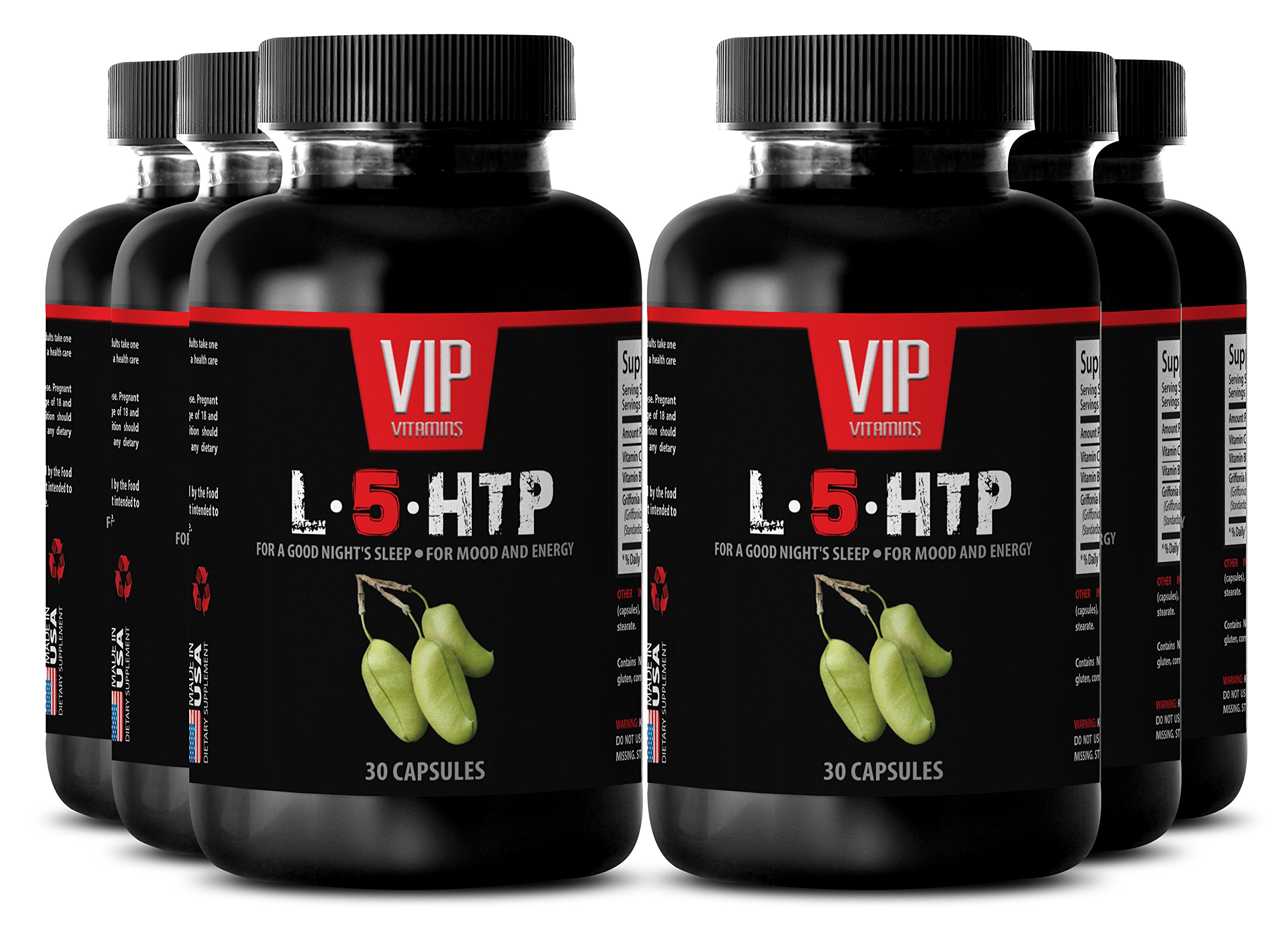 Serotonin mood support - L-5-HTP for a good night's sleep, for mood and energy - Natural energy powder - 6 Bottles 180 Capsules