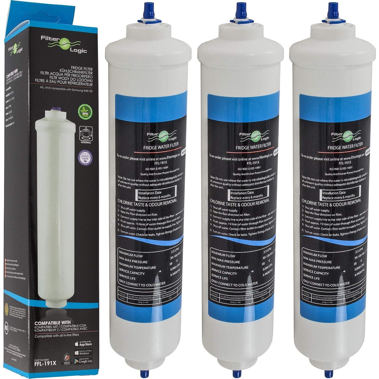 FilterLogic FFL-191X | Paquete de 3 - Filtro de agua frigorífico compatible con HAIER 0060823485A Cartucho para refrigerador nevera HRF-628A HRF-628I ...