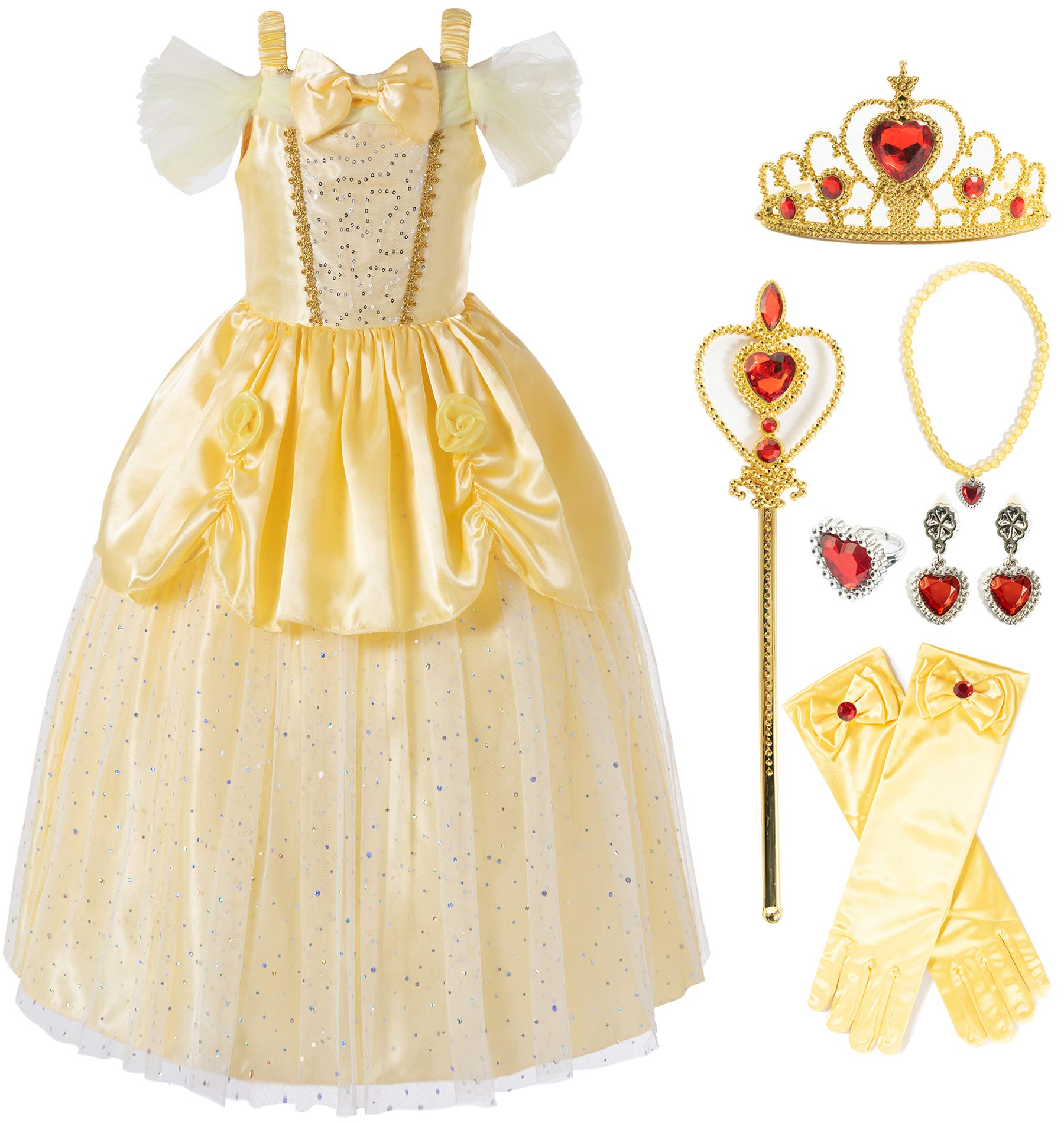 Princess Dress Up Accessories Gift Set for Aurora Crown Scepter Necklace Earrings Ring Gloves 6 Pieces Princess Acessories for Little Girls