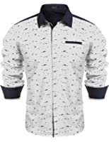 Hasuit Men Collared Long Sleeves Floral Print Dress Shirt