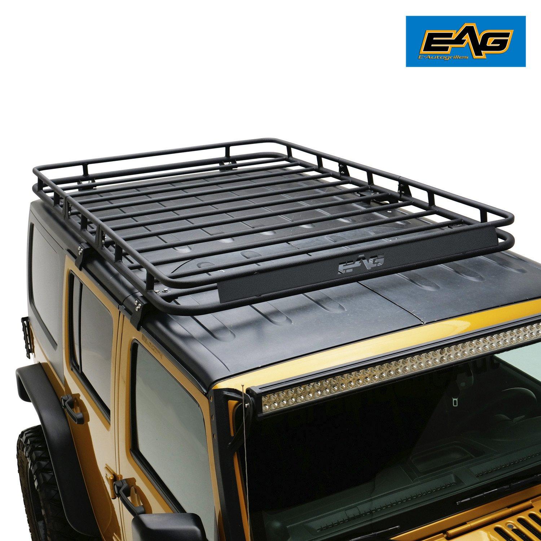 EAG Roof Rack Cargo Basket With Wind Deflector for 07-17 Jeep Wrangler JK 4 Door