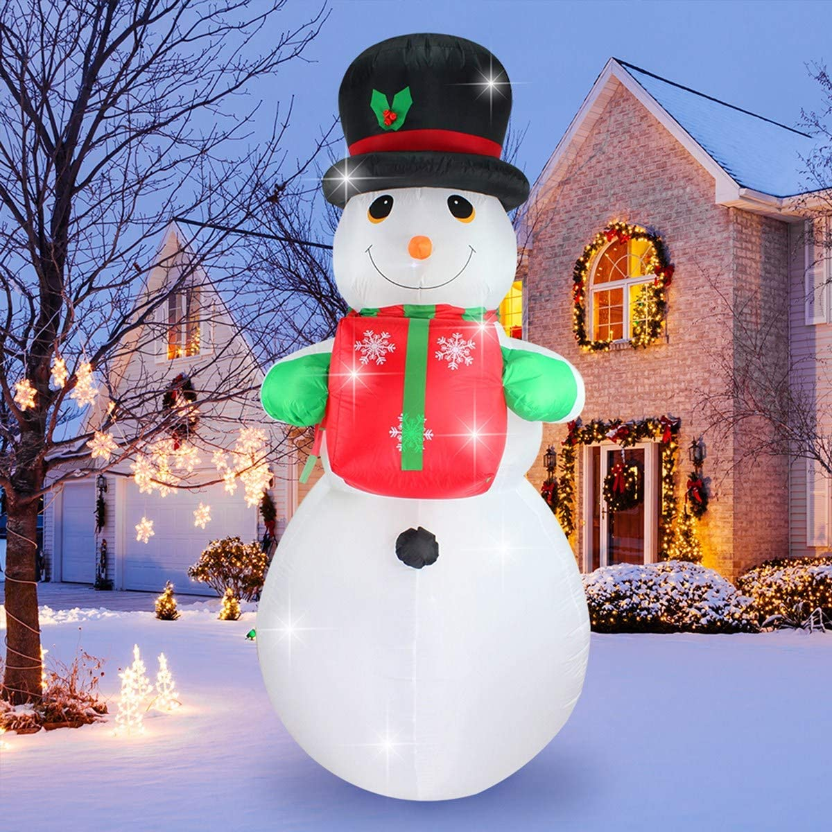 ShinyDec Christmas Inflatable 12 Foot Xmas Snowman with Gift, Lights  Airblown Oversize Yard Decorations, White