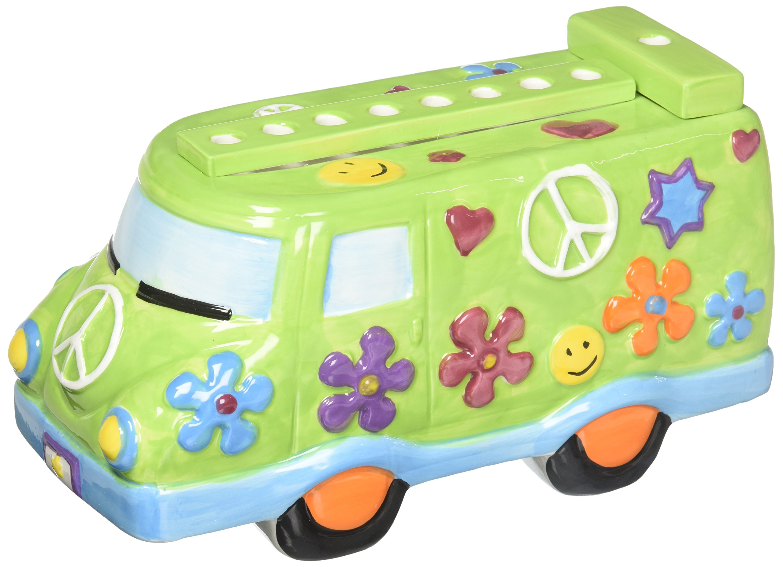 Gi' Mark M-3697 Hand Painted Ceramic Peace Van Hanukkah Menorah, Colorful