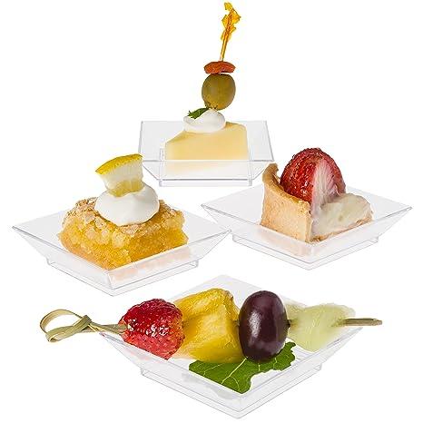 Prextex Mini Dessert Plates 2.5\u0026quot;x2.5\u0026quot; - 100 Sturdy Square Clear Mini  sc 1 st  Amazon.com & Amazon.com: Prextex Mini Dessert Plates 2.5\