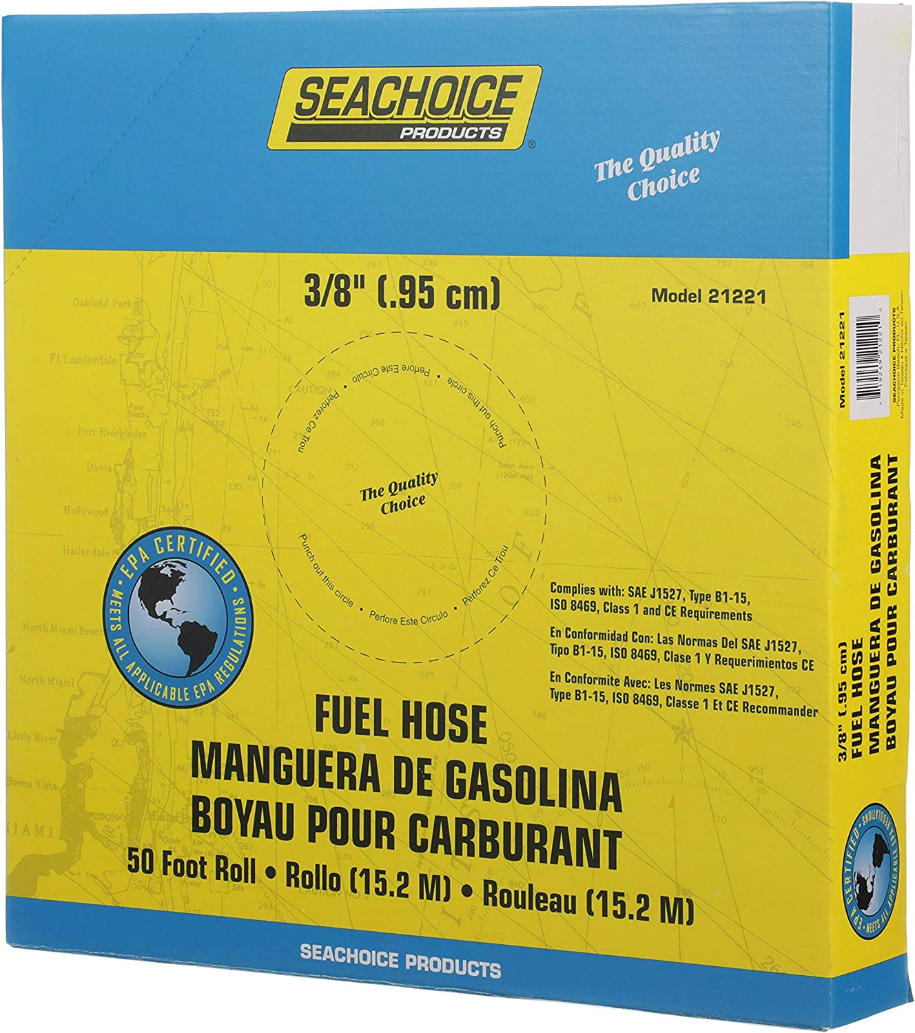 Seachoice 21221 Fuel Hose EPA Compliant Type B1-15 for Repair and Replacement on Outboard Engines